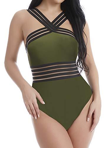 DUSISHIDAN One Piece Swimsuit for Women, Sheer Waist Mesh Striped Monokini Bandeau Bathing Suits,Camo Green