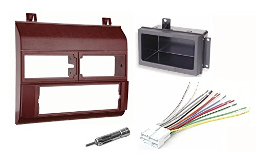 Single Din Dash Kit + Pocket Kit + Wire Harness + Antenna Adapter.Fits 1988-1996 Red Chevrolet & GMC Complete