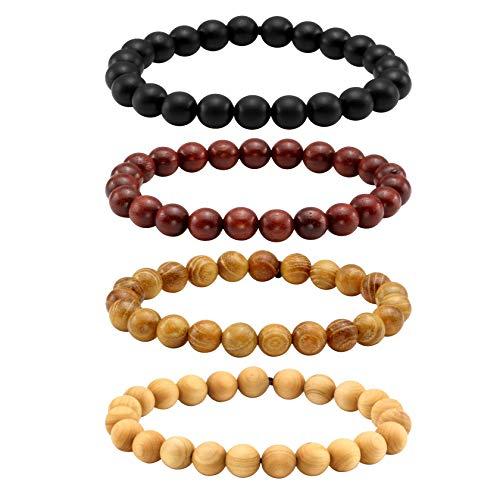 JJDreams 8mm Natural Wood Bead Bracelet Set Sandalwood for Women Men Yoga Buddhism Jewelry Elastic Rope