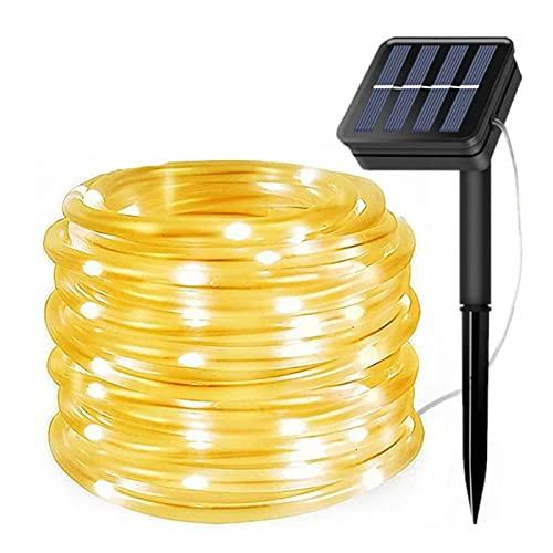 JSJJAUJ Linterna Solar Exterior Luces de Cuerda Solar al Aire Libre 2 Paquete Solar Impermeable Tubo Impermeable 12m 100 LED Luces de Hadas de Alambre de Cobre para jardín Patio Yard