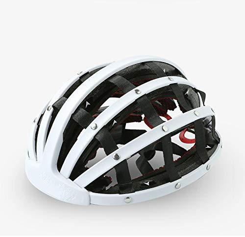 YYYY Persönlichkeit Retro Fahrradhelm, Urban Freizeit Reithelm kann gefaltet und automatisch durch Aufprall verbreitet Werden-White