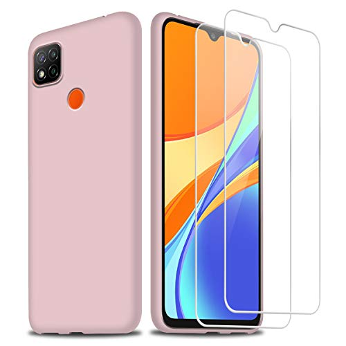 Funda para Xiaomi Redmi 9C / 9C NFC con Dos Cristal Templado Protector de Pantalla, Rose Suave Líquido Silicona Protectora Carcasa para Xiaomi Redmi 9C / 9C NFC