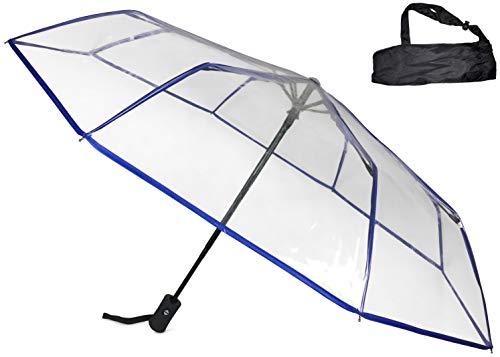 Sternenfunke Regenschirm Ø98 cm, transparent, Komfort Druckknopf, mit Tragehülle, Automatik, faltbar, klein in der Tasche – Taschenschirm auch für Hochzeiten - Rand blau