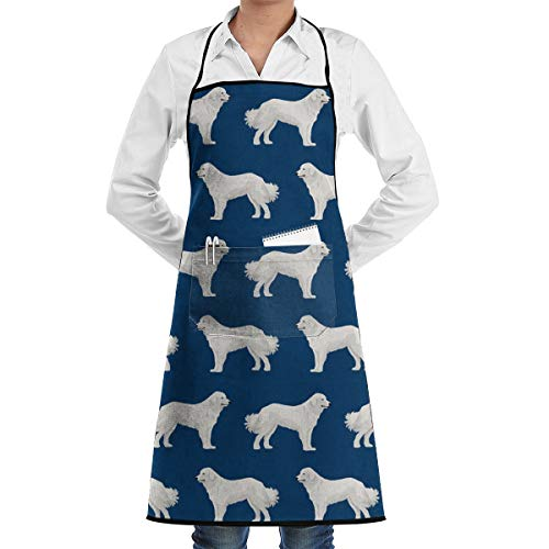 QYWTE Great Pyrenees Cute Dogs Apron with Pockets Locked for Cooking Baking Crafting Gardening BBQ (20.5 X 28.3 Inches)