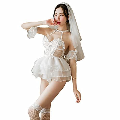 LAMCE Lencería Sexy Malla Sexy Traje de tentación Nupcial Tirantes pasión Uniforme Transparente Femenino Nuevo Vestido de Novia Blanco White-M