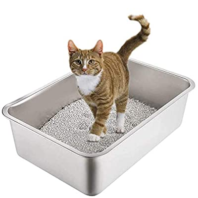 Yangbaga Stainless Steel Litter Box for Cat and Rabbit, Odor Control Litter Pan, Non Stick Smooth Surface, Easy to Clean, Never Bend, Rust Proof, Large Size with High Sides and Non Slip Rubber Feets