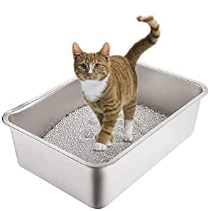 Yangbaga Stainless Steel Litter Box for Cat and Rabbit, Odor Control, Non Stick Smooth Surface, Easy to Clean, Never…