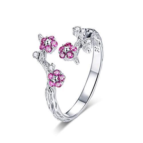 Anello regolabile per donna in argento sterling 925 Anello per donna in argento con fiore di prugna CZ aperto con anelli di fidanzamento per le ragazze