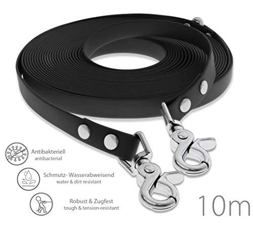 SNOOT Schleppleine 10m - Schwarz - zugfeste, schmutz- und Wasserabweisende Hundeleine mit Zwei Karabiner und D-Ring