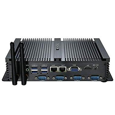 Kingdel Powerful Mini Desktop Computer, Fanless Industrial PC, Intel i5 Dual Core CPU, 8GB RAM, 512GB SSD, 2xNICs, 4xUSB…
