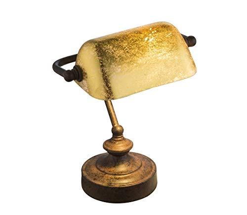 Elegante lámpara de escritorio'estilo antiguo' tipo lámpara de banquero decorativa acabado rústico con difusor dorado Referencia 234-2953