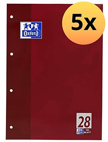 OXFORD 100050353 Schulblock Schule 5er Pack A4 Lineatur 28 - kariert mit Doppelrand 4-fach gelocht 50 Blatt kopfverleimt Notizblock Schreibblock Papierblock