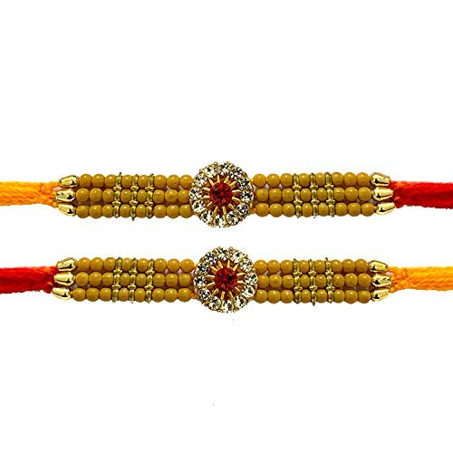 Color Vary and Multi Design 4 Stone with Moti Rakhi thread Raksha bandhan Gift for your Brother IndiaBigShop Set of Two Orange Color