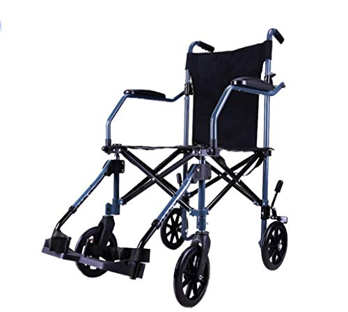 JY Silla de ruedas plegable ligera Silla de ruedas de viaje Transit con reposapiés Red de manipulación plegable Bolsa de transporte, azul yt