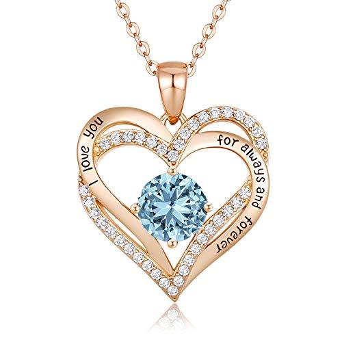 CDE 925 Sterling Silber Roségold Herz Halskette, 5A Zirkonia Birthstone Anhänger Kette Damen Muttertag Schmuck Geschenk mit Box (Roségold März)