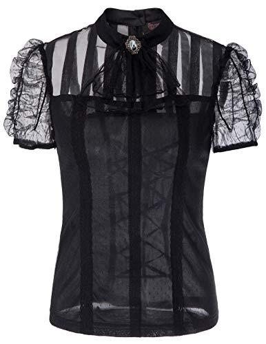 SCARLET DARKNESS Damen Steampunk Kurzarm Lace Tops mit abnehmbaren Jabot Schwarz Größe M
