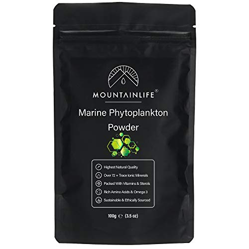 Mountainlife Marine Phytoplankton Powder | 100g | Highest Natural Quality | Deep Sea Mineral Rich Phytoplankton Algae Powder | Suitable For Humans & Pets | Natural Borehole Farmed Marine Phytoplankton