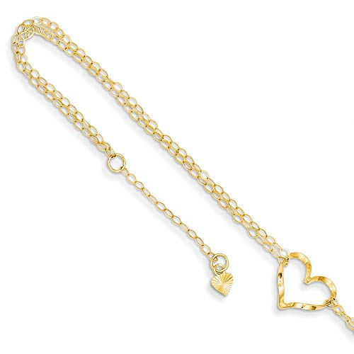 14k Yellow Gold Double Strand Heart 9 Inch Plus 1 Adjustable Chain Size Extender Anklet Ankle Beach Bracelet Fine Jewelry For Women Gifts For Her