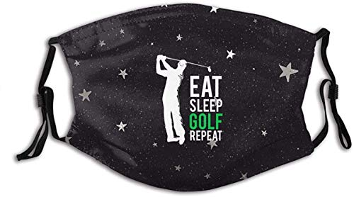 TZTZ Eat Sleep Golf Repeat Fashion Face Cover Sports Scarf Dustproof Breathable-able-able Cover for Men WomenBlackOne Size