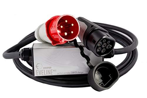 22kW Smart tragbares EVSE Ladegerät Typ2 - CEE 5-pin (RCD FI A-EV) | 32A | 3-phasig | 5m + Inklusive kompakter Tasche