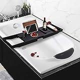 YX-lle Home Badewannentablett aus 100 % Bambusholz (schwarz, 75 x 23 x 4,5 cm)