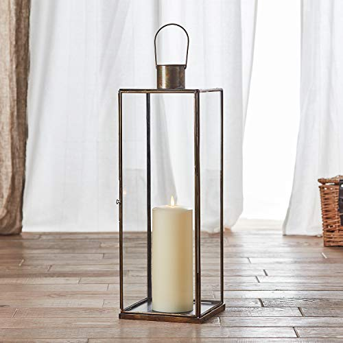 Lights4Fun - Lanterna Grande Di Metallo E Vetro Artigianale 60Cm Con TruGlow® Candela A Pile