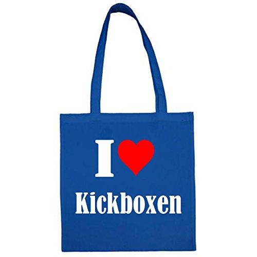 Tasche I Love Kickboxen Größe 38x42 Farbe Blau Druck Weiss