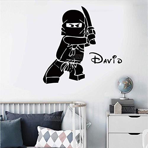 Olivialulu Personalisierte Name Ninjago Lego Vinyl Wandtattoo Aufkleber Für Kinder Jungen Zimmer Ninga Kinderzimmer Benutzerdefinierte Kid Name Decals Z330 58 * 40 Cm