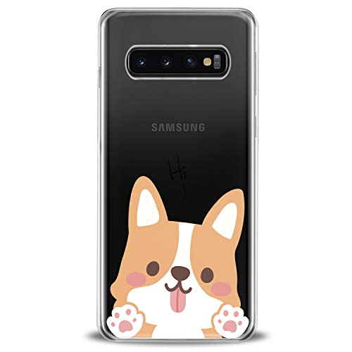 Cavka TPU Cover for Samsung Galaxy Case S20 Note 10 Plus 5G S10e S9 S8 S7 Corgi Soft Puppies Silver Child Adorable Gentle Clear Modern Print Design Flexible Silicone Slim fit Lightweight Cute Funny