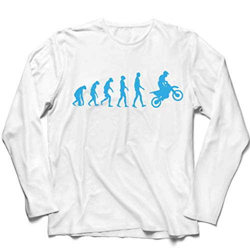 lepni.me Camiseta de Manga Larga para Hombre Evolución del Motocross Equipo de Moto Ropa de Carreras Todoterreno (Small Blanco Azul)