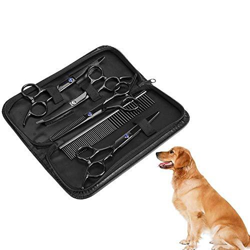 Saxkit för husdjur – 7 st professionella rostfritt stål vassa hund katt saxar uppsättning frisering saxar djur hårklippning uttunning frisyrverktyg