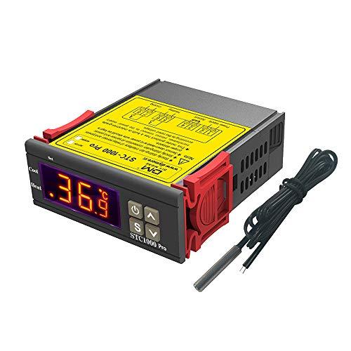 diymore STC-1000 Pro Controlador de temperatura AC 220 V Termostato digital multiusos Calibración de temperatura con sonda de sensor NTC para fermentación Hatch Freezer Calefacción y enfriamiento
