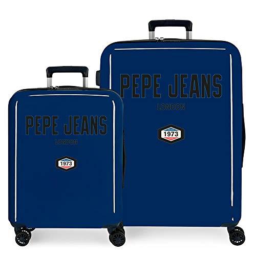 Pepe Jeans Skyler Juego de Maletas Azul 55/70 cms Rígida ABS Cierre TSA Integrado 119,5L 7,1 kgs 4 Ruedas Dobles Equipaje de Mano