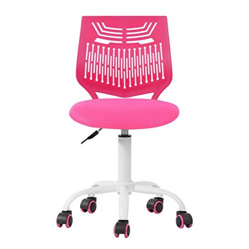 Silla ajustable de escritorio silla de estudio, silla de ordenador asiento de tela, silla de escritorio giratoria sin brazos, color rosa