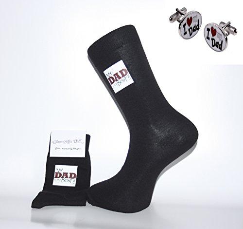 Socke & Manschettenknöpfe Set–Schwarze Socken mit My Dad ist die beste Design & I love my Dad Manschettenknöpfe. Ein tolles Geschenk für Weihnachten, Geburtstag, Vatertag, Jahrestag Geschenk oder Geschenk.