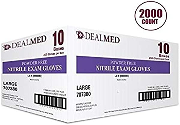 Dealmed Brand Nitrile Medical Grade Exam Gloves Disposable Latex Free 2000 Count Size Large