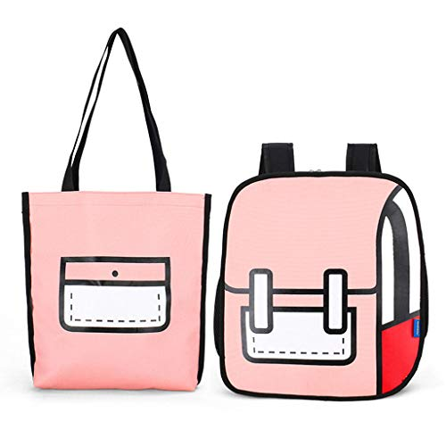 Sqiuxia Backpack and Shoulder Bag Set,3D Jump Style 2D Drawing From Cartoon Comic Paper Backpack Button Closure for School Travel, 4 Colors Optional