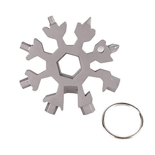 Leeko 18-in-1 Stainless Steel Snowflake Multi-Tool, Screwdriver Tool Can Opener Anti-Lost Tool Key Chain Incredible Tool Outdoor EDC Tools