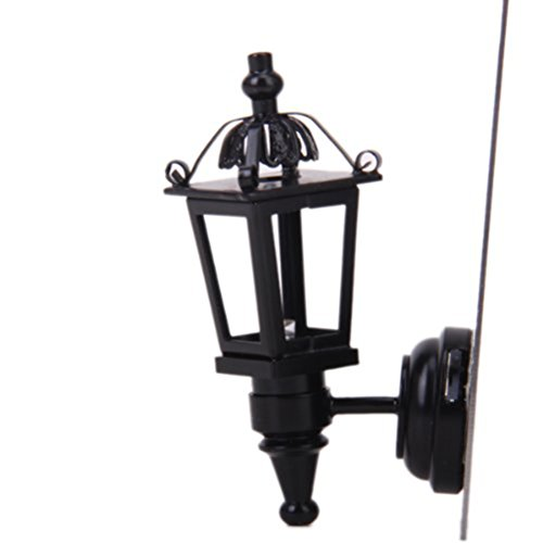 ROSENICE Puppenhaus Miniatur 1:12 Möbel LED Wandleuchte Modell Batteriebetrieben (Schwarz)