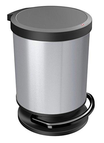 Rotho Paso Mülleimer/Abfalleimer mit Deckel 20 l rund, Kunststoff (PP), silber metallic, 20 Liter (35,7 x 30,2 x 43,2 cm)