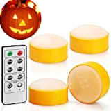 [4-Pack] Halloween LED Pumpkin Lights with Remote and Timer, Battery Operated Orange Jack-O-Lantern Light for Halloween Decor, Flameless Candles for Pumpkin Decoration