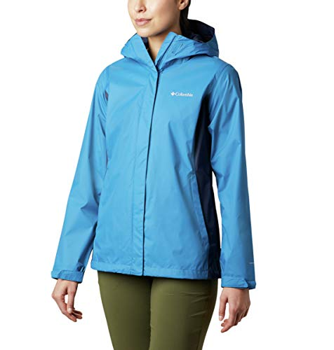 Columbia Women's Arcadia II Hooded Jacket, Waterproof and Breathable Outerwear, -Dark Pool/nocturnal, Small