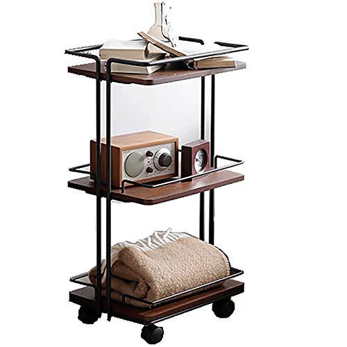Kays Side Table Coffee Table End Table Side Table Solid Wood Coffee Table Iron Art End Table with 3-Shelf Sofa Table Mobile Snack Table Metal Frame Nightstand,44.5CM*32CM*79.5CM (Color : Brown)