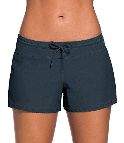 Minetom Bikini Damen Badeshorts Schwimmen Bikinihose Wassersport Schwimmshorts Boardshorts Badehose Sport Swim Shorts Grau DE 46