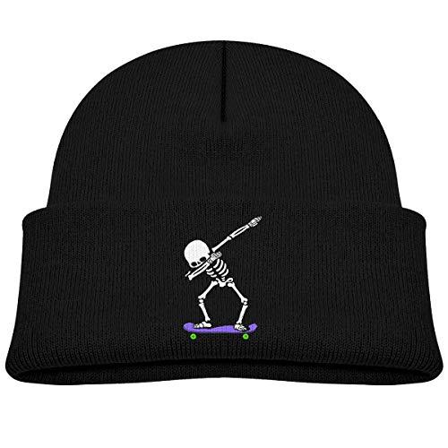Dabbing Skeleton Skateboard Knitted Hat Classic Skull Beanies Kids Cuffed Plain Cap Black
