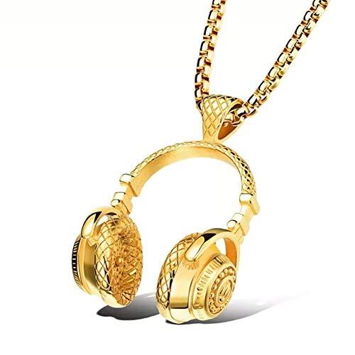 SBRTL Collar para Auriculares Colgante Musical, Cadena Hiphop Collar Colgante para Auriculares de Acero Inoxidable Viene con una Cadena de 24 Pulgadas,Oro