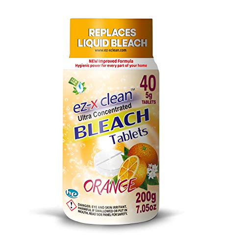 EZ-X CLEAN New and Improved Formula Ultra Concentrated Water Activated Bleach Tablets for Laundry and Multipurpose Cleaning. 40 Tablets 7.05 OZ Phosphate Free Replaces Liquid Bleach (Orange)