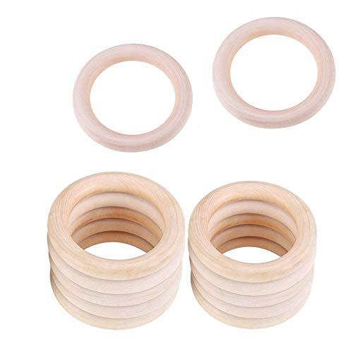 Baby Beißringe Holzringe, 12 Stück Baby Kinderkrankheiten Ring, Natürliche Wood Teether Zahnen Ringe für Babys Kinderpflege, 50mm, 70mm