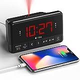 Despertador Proyector Techo, Reloj Despertador Digital con Radio, Cargador USB, Pantalla LED Digital, Función Snooze