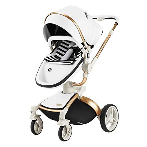 Best Price GYFY Baby Stroller Folding high Landscape Maternal and Child Supplies Shock Absorber Four Wheel Baby Stroller,White